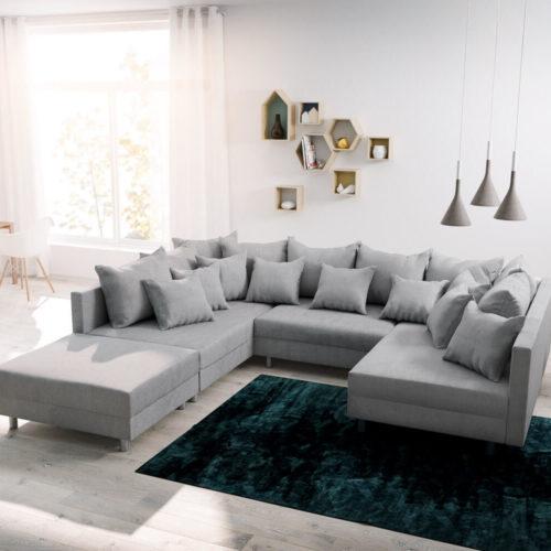 DELIFE Wohnlandschaft Clovis Grau modular Flachgewebe Hocker, Design Wohnlandschaften, Couch Loft, Modulsofa, modular