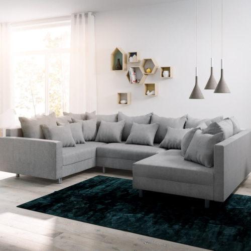 DELIFE Wohnlandschaft Clovis Grau Flachgewebe mit Armlehne Modulsofa, Design Wohnlandschaften, Couch Loft, Modulsofa, modular