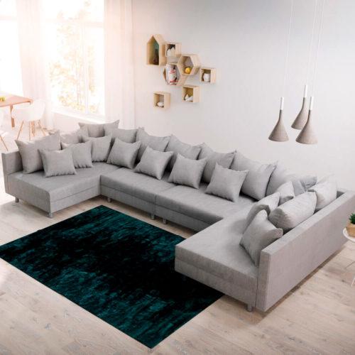 DELIFE Wohnlandschaft Clovis XL Grau Flachgewebe Modulsofa, Design Wohnlandschaften, Couch Loft, Modulsofa, modular
