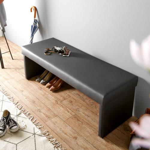 DELIFE Sitzbank Olav 140x53 cm Schwarz Kunstleder gepolstert, Bänke