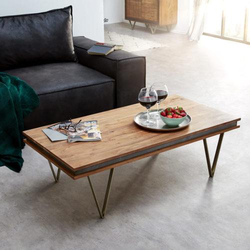 DELIFE Designer-Couchtisch Stonegrace 117x60 cm Akazie Natur, Couchtische
