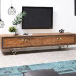 DELIFE Designer-Lowboard Stonegrace 200 cm Akazie Natur 4 Türen, Fernsehtische