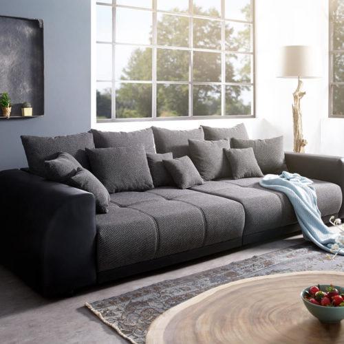 DELIFE Big-Sofa Violetta 310x135 cm Schwarz inklusive Kissen, Big Sofas