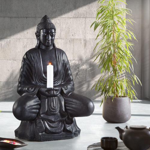 DELIFE Skulptur Buddha Sitzend 100x150 cm Schwarz Statue Unikat, Dekoartikel