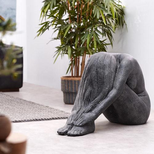 DELIFE Skulptur Sonnengöttin 90x40 Schwarz Silber Statue Unikat, Dekoartikel