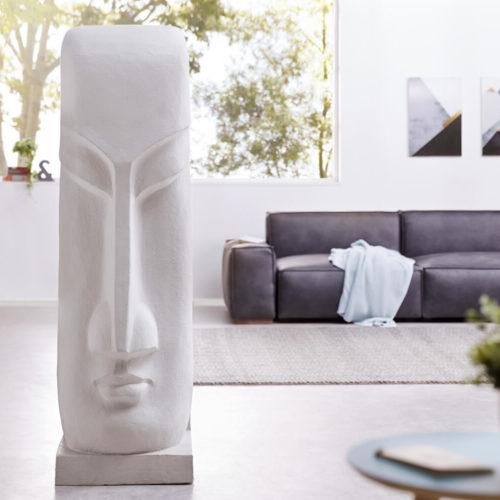DELIFE Skulptur Moai 167x50 cm Hellgrau Statue Unikat, Dekoartikel