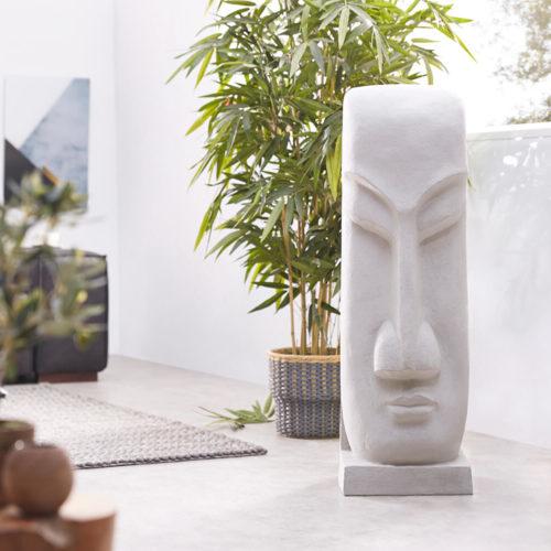 DELIFE Skulptur Moai 100x32 cm Hellgrau Statue Unikat, Dekoartikel