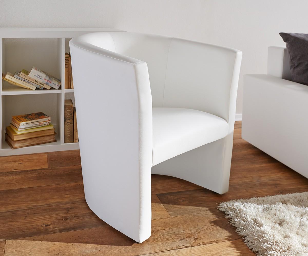 DELIFE Cocktailsessel Goya Weiss Design Sessel Lounge Sessel, Cocktailsessel