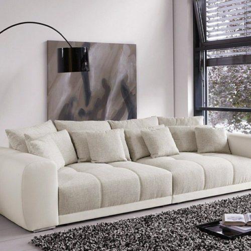 DELIFE Big Sofa Valeska 310x135 cm Grau Cremeweiss Beige 12 Kissen, Big Sofas