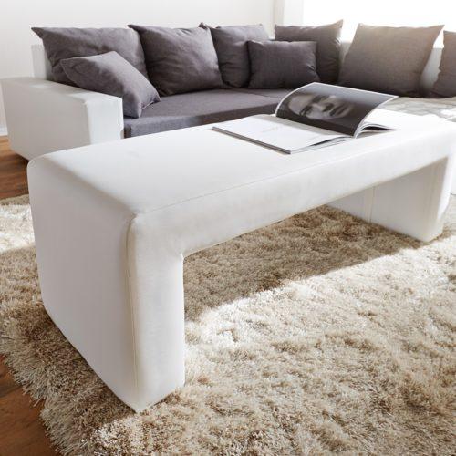 DELIFE Sitzbank Otello 120x45 cm Weiss gepolstert, Bänke
