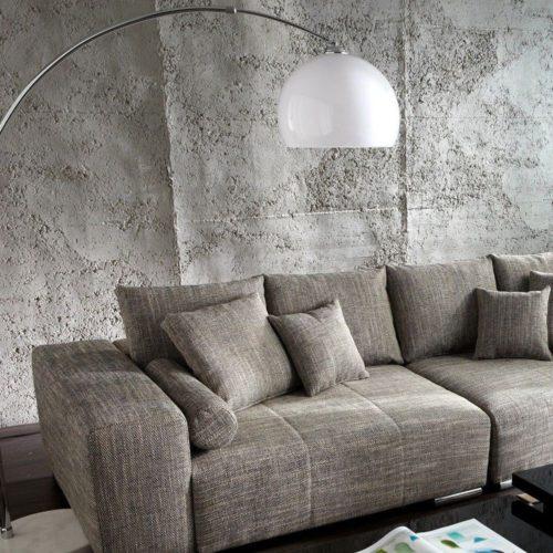 DELIFE Bogenlampe Big-Deal XL Lounge Weiss Marmor höhenverstellbar, Stehleuchten