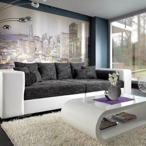 DELIFE Bigsofa Marlen 300x140 cm Weiss Schwarz Couch, Big Sofas