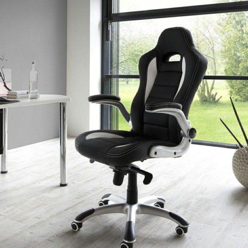 DELIFE Chefsessel Renzo Schwarz Weiss Bürostuhl verstellbar, Schreibtischstühle