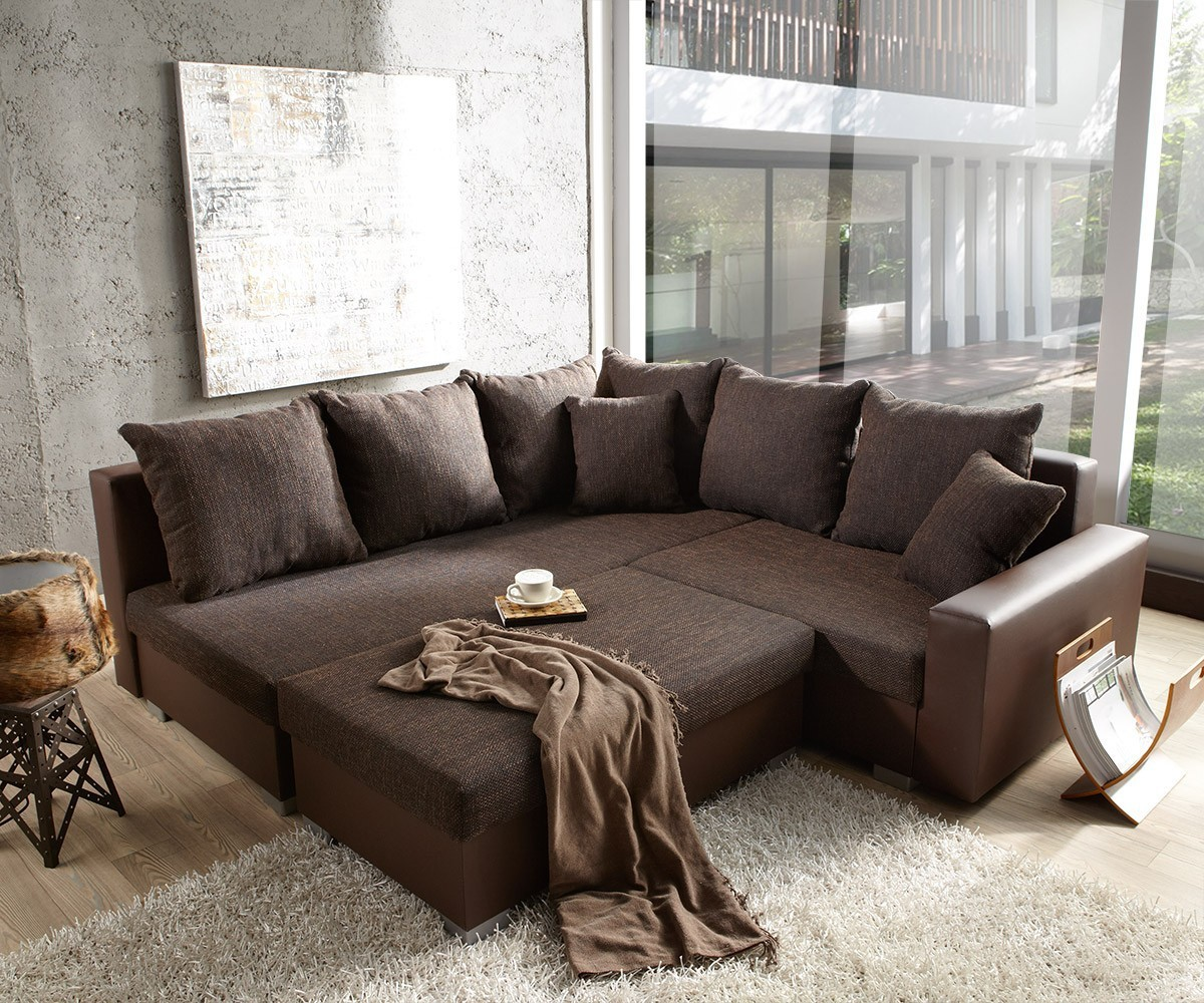 DELIFE Couch Lavello 210x210 Dunkelbraun Ottomane links Hocker, Ecksofas