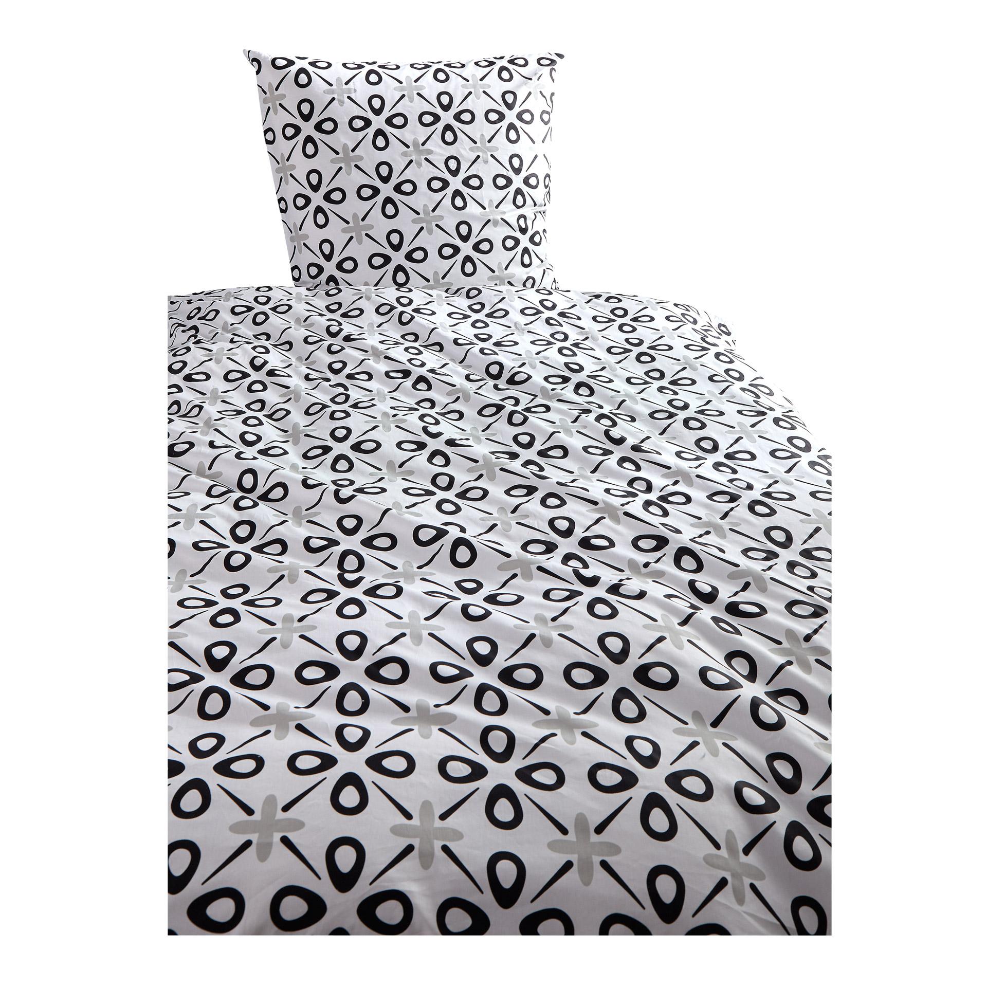 Satin-Bettwäsche SKU (135x200, schwarz-weiß)