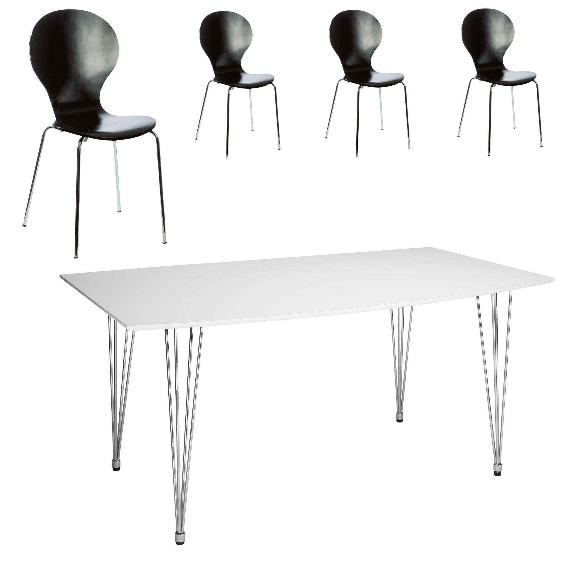 Essgruppe Fabian/Fanny (90x160, 4 Stühle, schwarz)