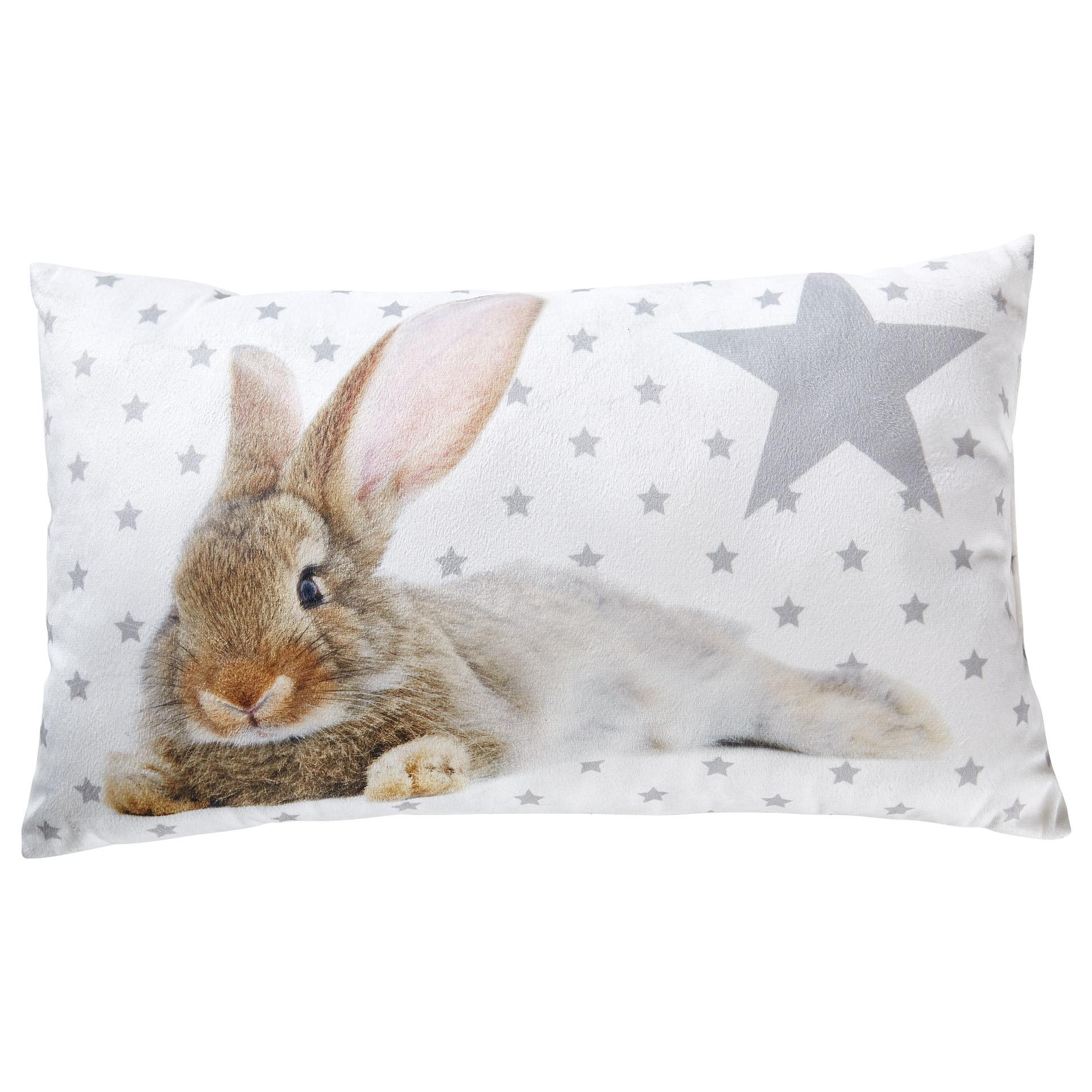 Zierkissen Bunny (30x50, weiß-grau)