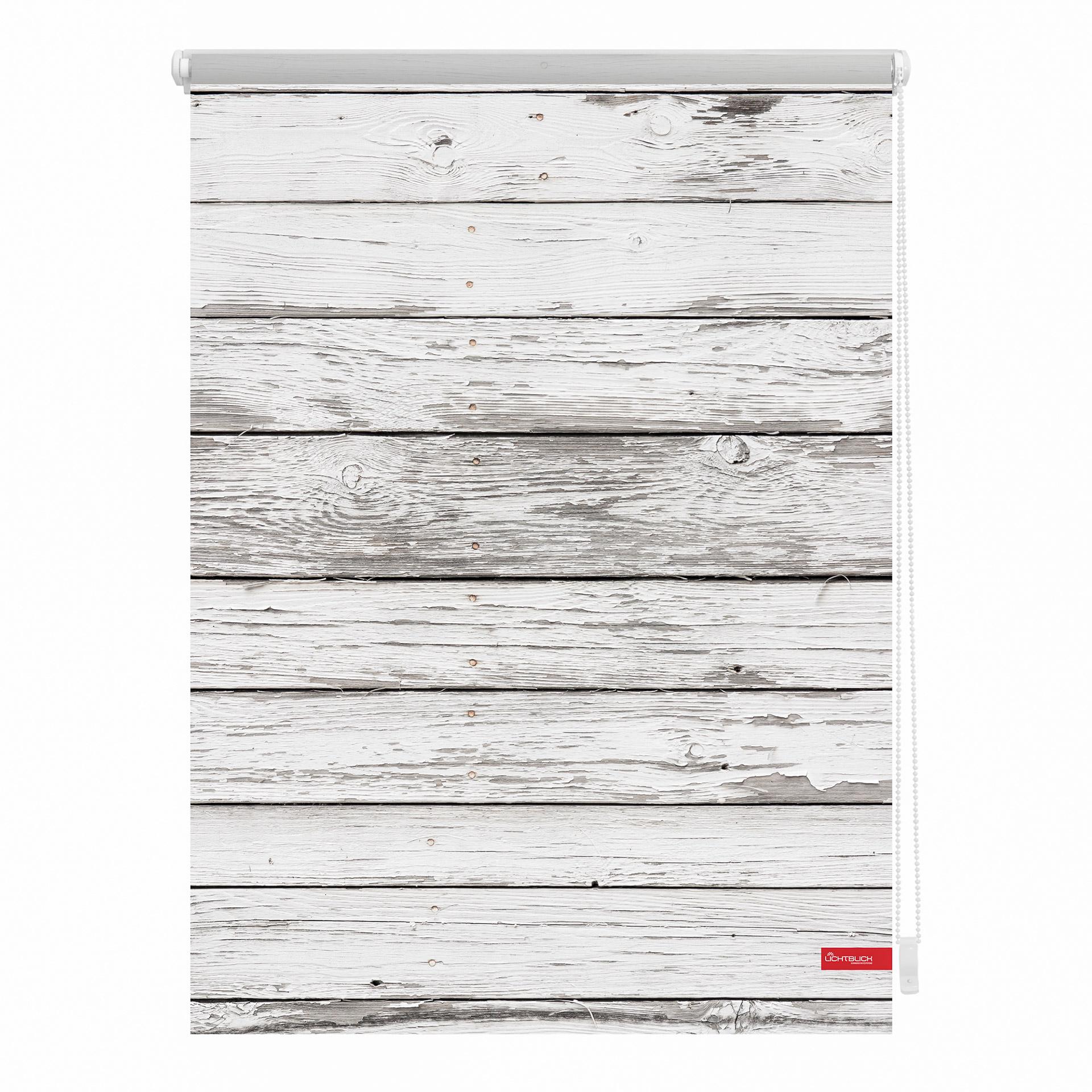 Klemmfix Rollo Bretter-Vintage (100x150, weiß-grau)