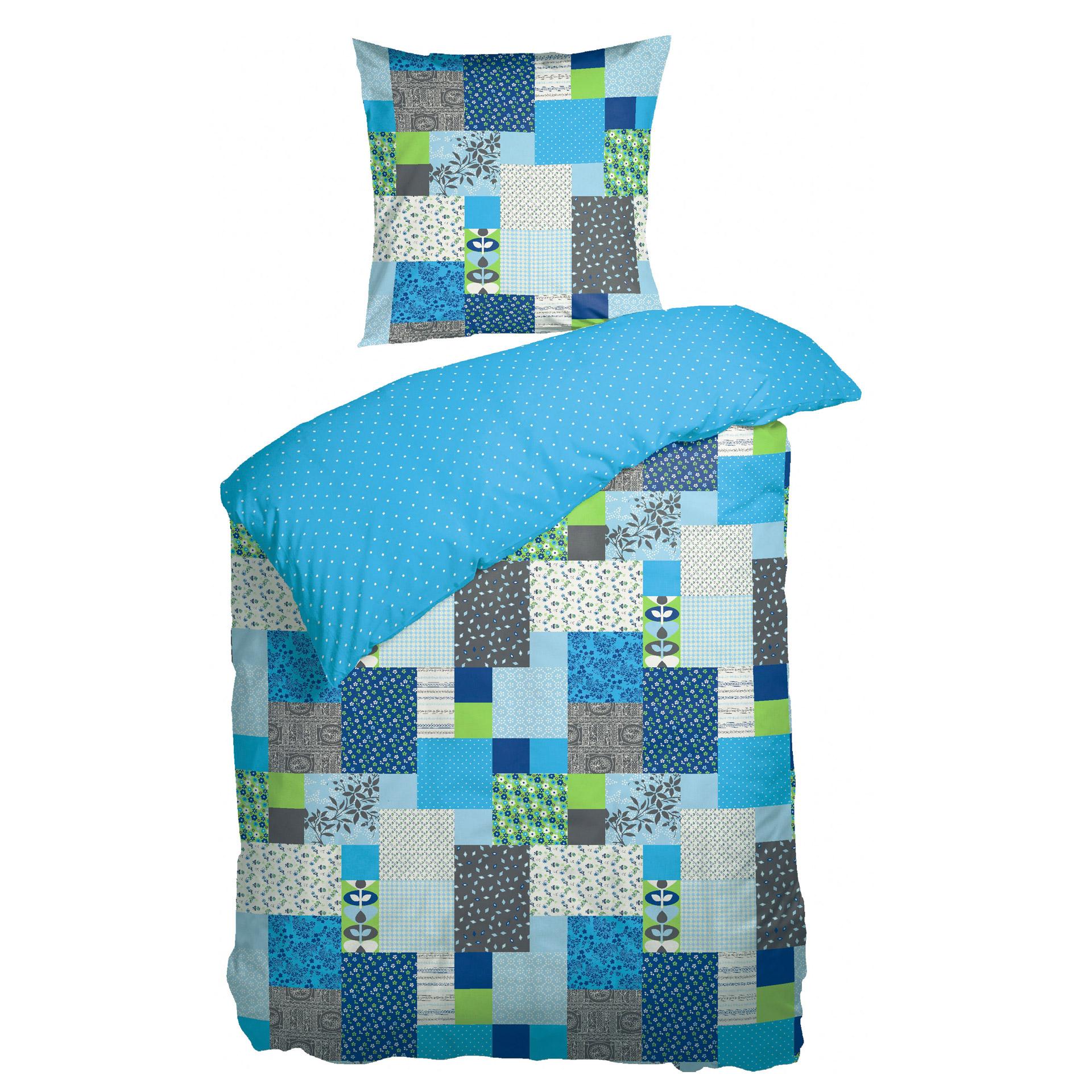 Renforcé-Bettwäsche Hedda (155x220, grau-blau)