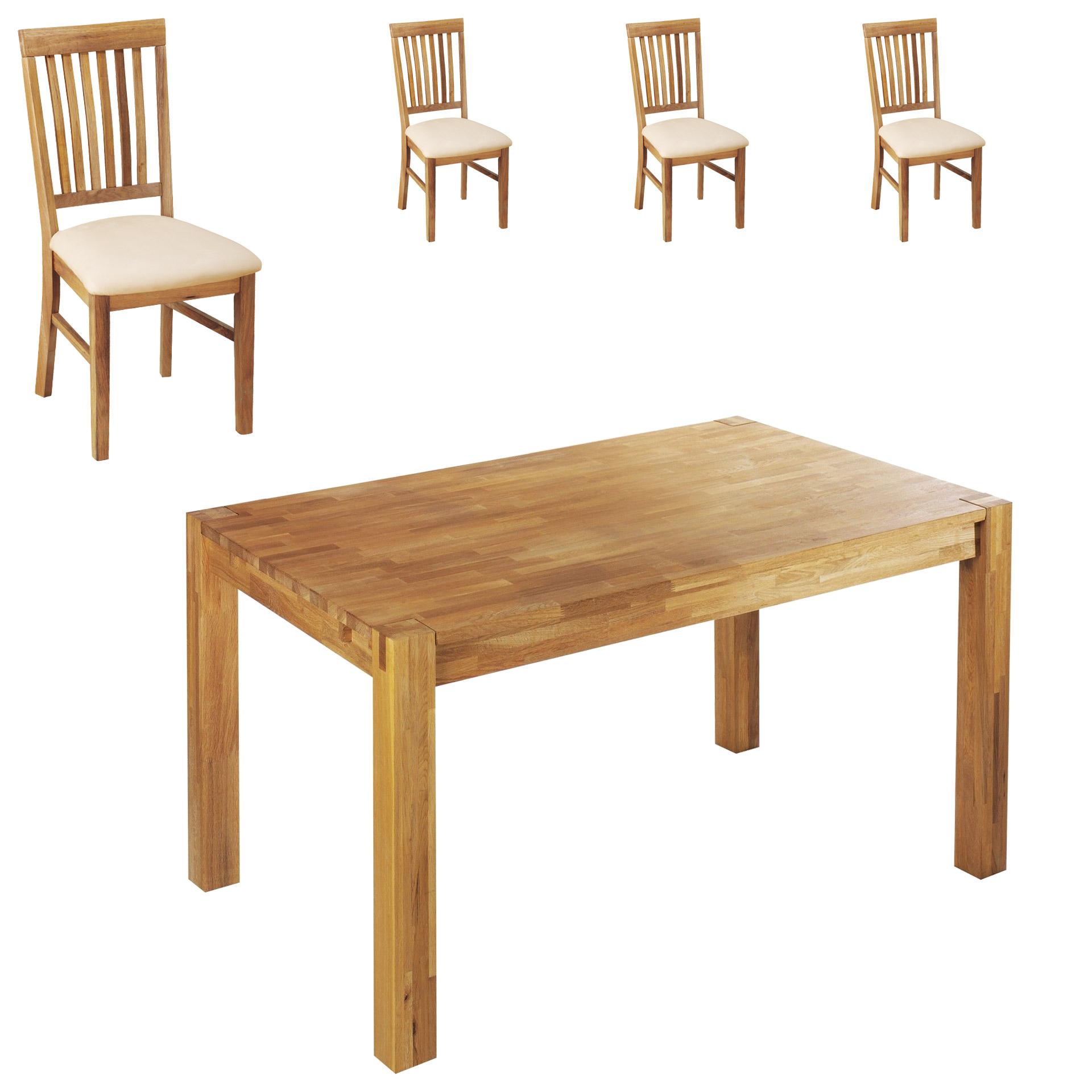 Essgruppe Royal Oak (90x140, 4 Stühle, beige)