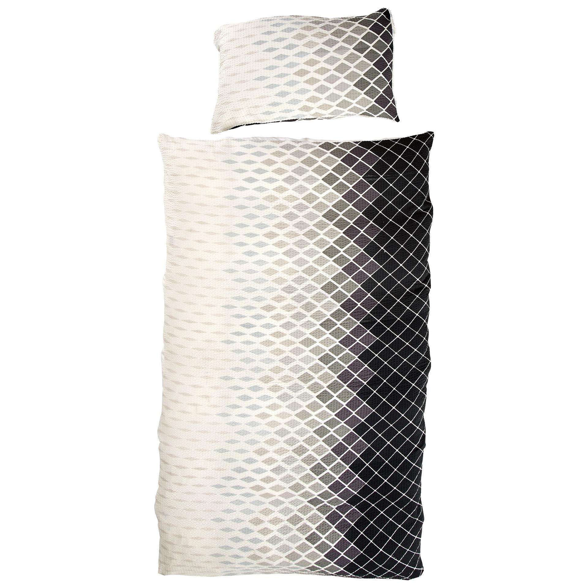 Micro-Seersucker-Bettwäsche Calogera (135x200, schwarz-weiß)