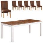 Essgruppe Fakse/Tom (90x180, 6 Stühle, antikbraun)