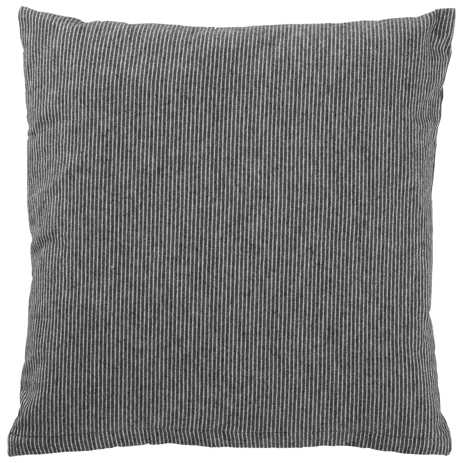 Feinbiber-Zierkissenbezug (50x50, Streifen, grau)
