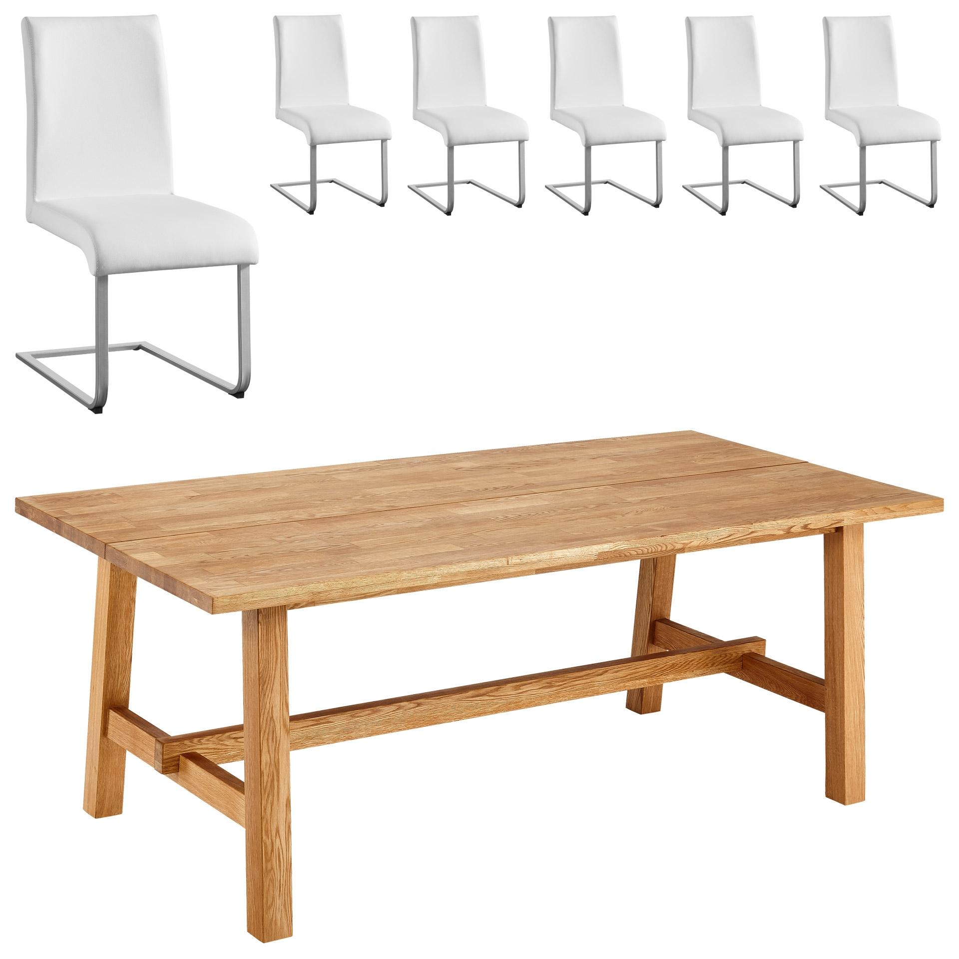Essgruppe Lendrup/Move (200x95, 6 Stühle, weiß)