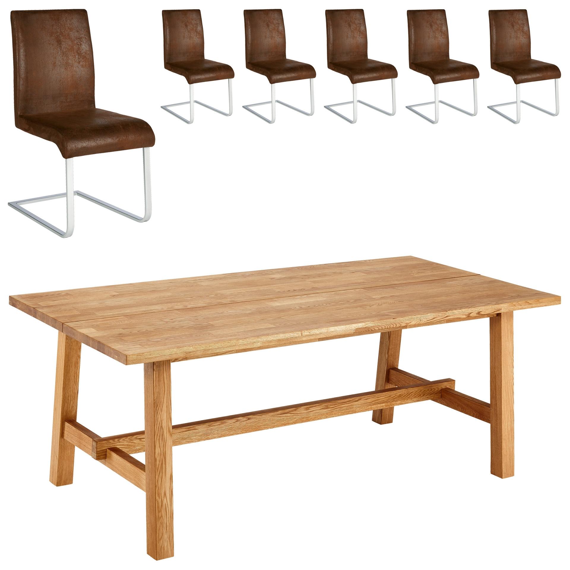 Essgruppe Lendrup/Move (200x95, 6 Stühle, antik)