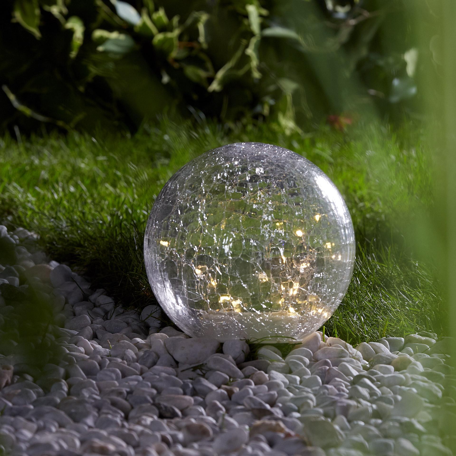 Kugel-Solarleuchte aus Glas (Ø 20 cm)