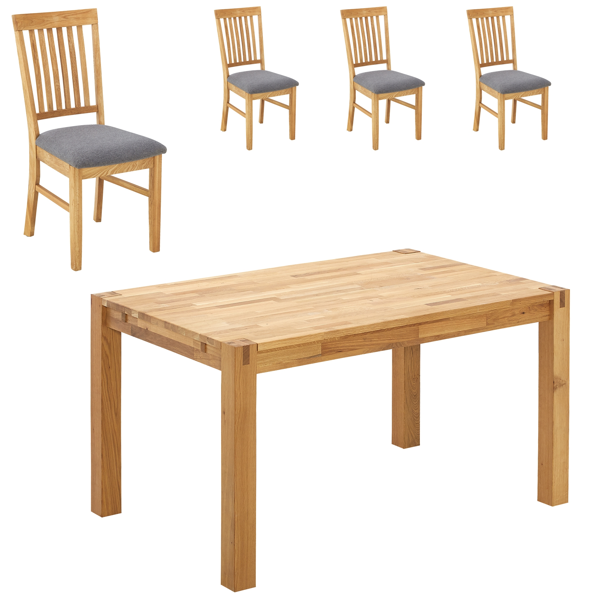 Essgruppe Royal Oak (90x140, 4 Stühle, grau)