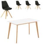 Essgruppe Blokhus (70x120, 4 Stühle, schwarz)