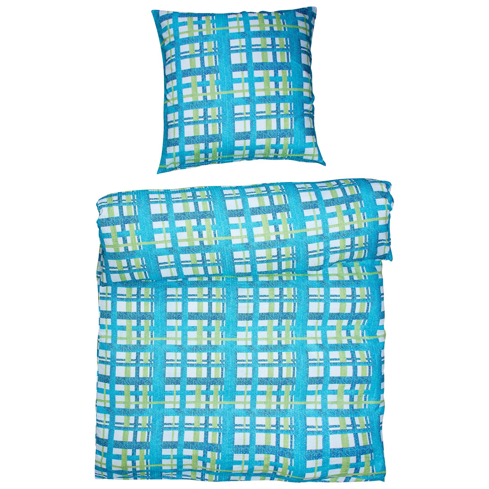 Micro-Seersucker-Bettwäsche Karo (135x200, blau-grün-weiß)