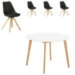 Essgruppe Blokhus (ø105, 4 Stühle, schwarz)