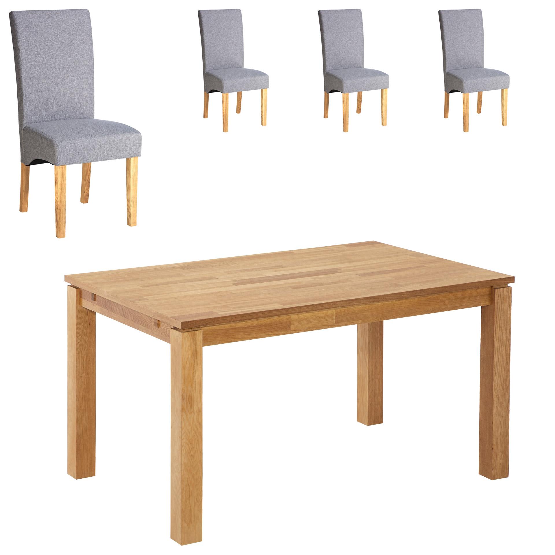 Essgruppe Royal Borg/Tom (90x140, 4 Stühle, grau)