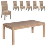 Essgruppe Nordic Oak/Rio (175x95, 6 Stühle, kubu)