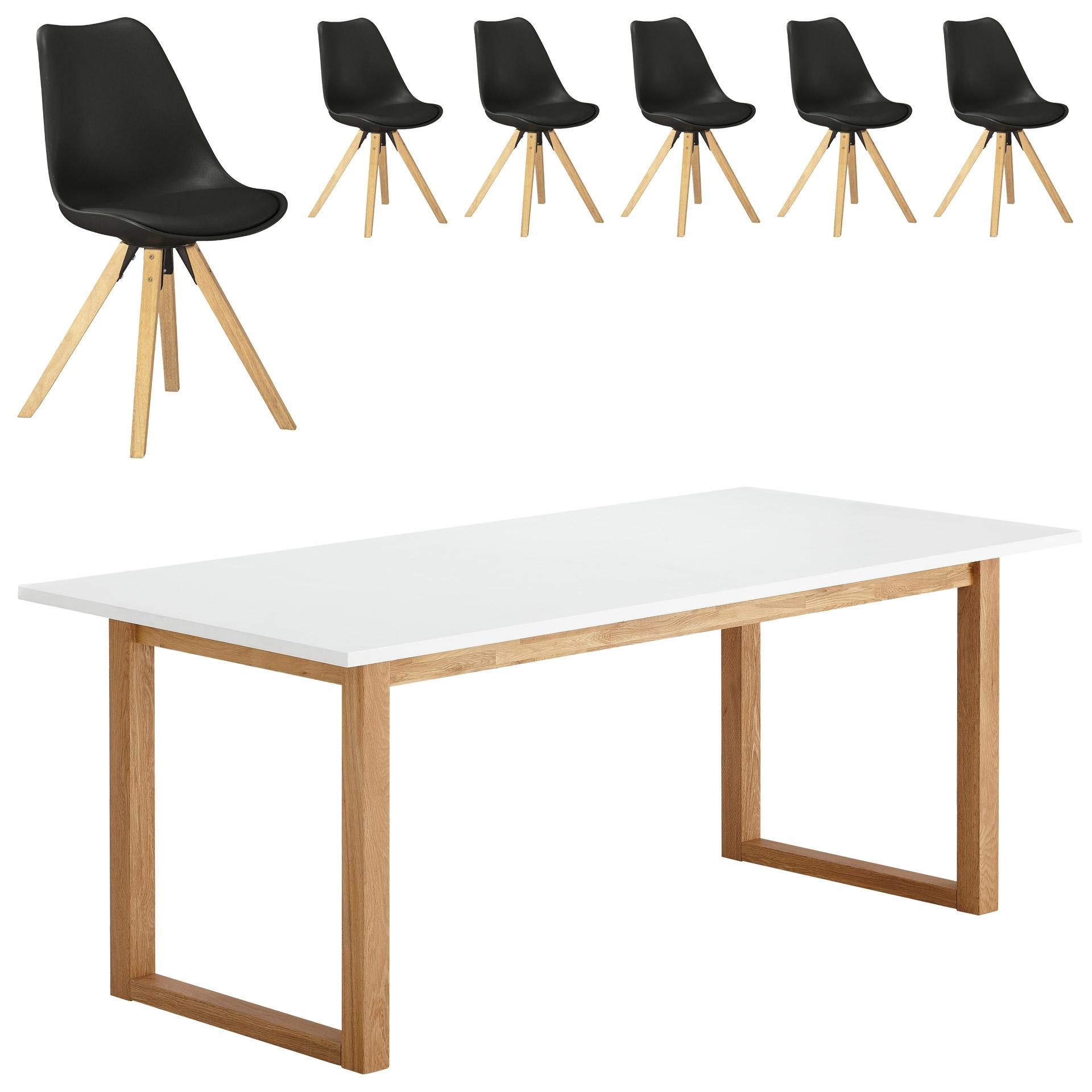 Essgruppe Hanstholm/ Blokhus (90x190, 6 Stühle, schwarz)