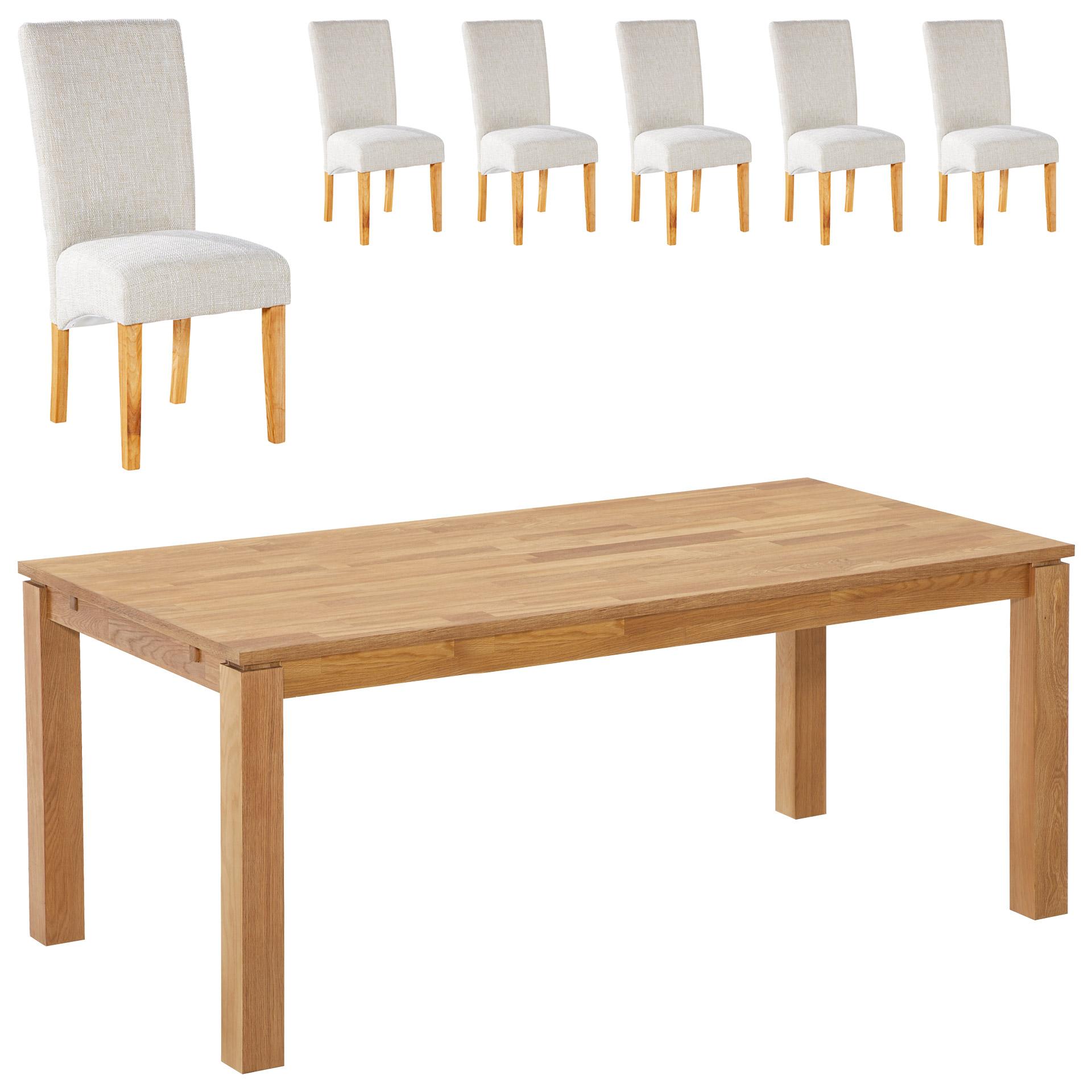 Essgruppe Royal Borg/Tom (90x180, 6 Stühle, beige)