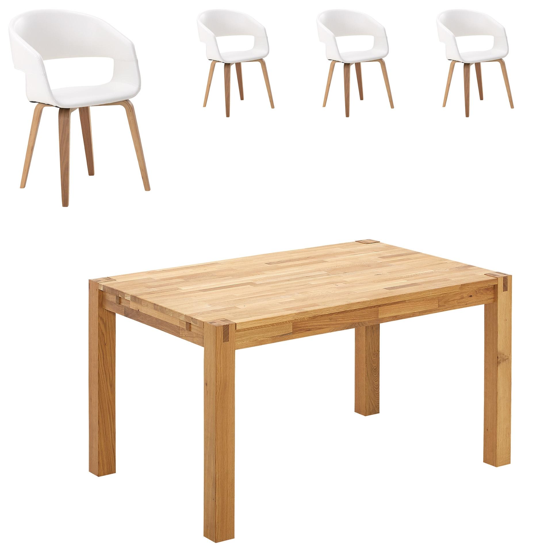 Essgruppe Royal Oak/Holstebro (140x90, 4 Stühle, weiß)