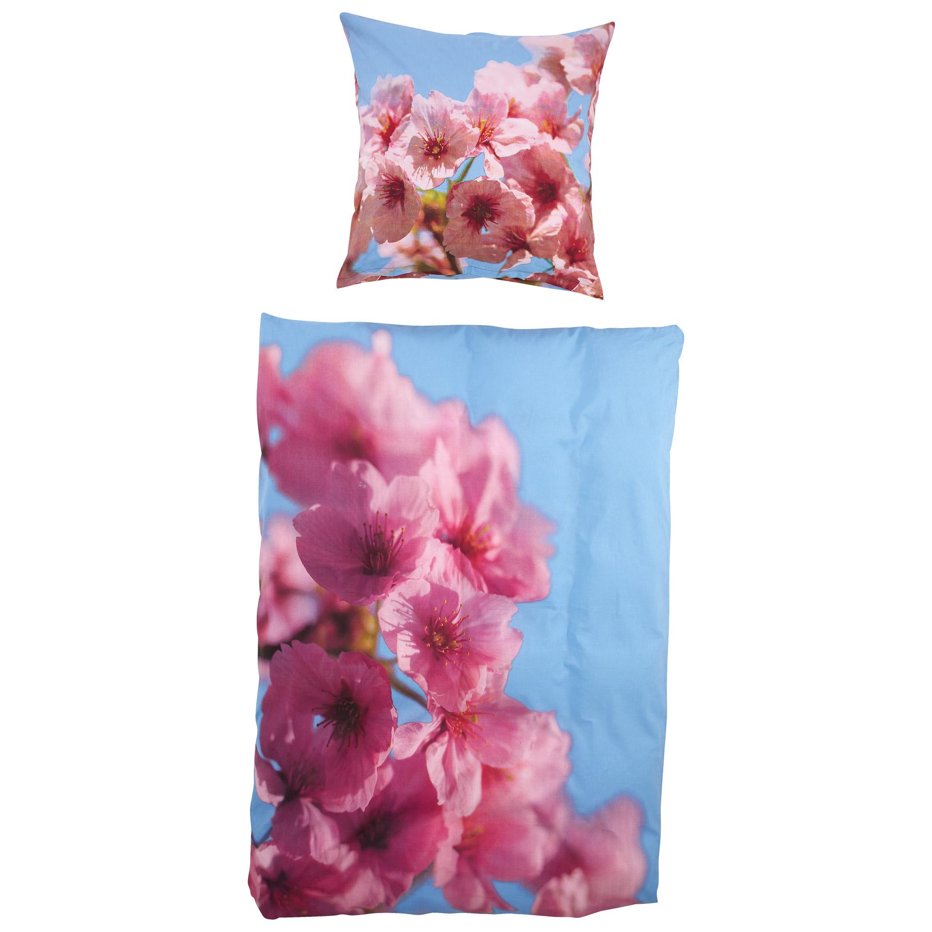 Linon-Bettwäsche Kirschblüte (135x200, Fotodruck)