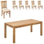 Essgruppe Royal Oak (180x90, 6 Stühle, beige)