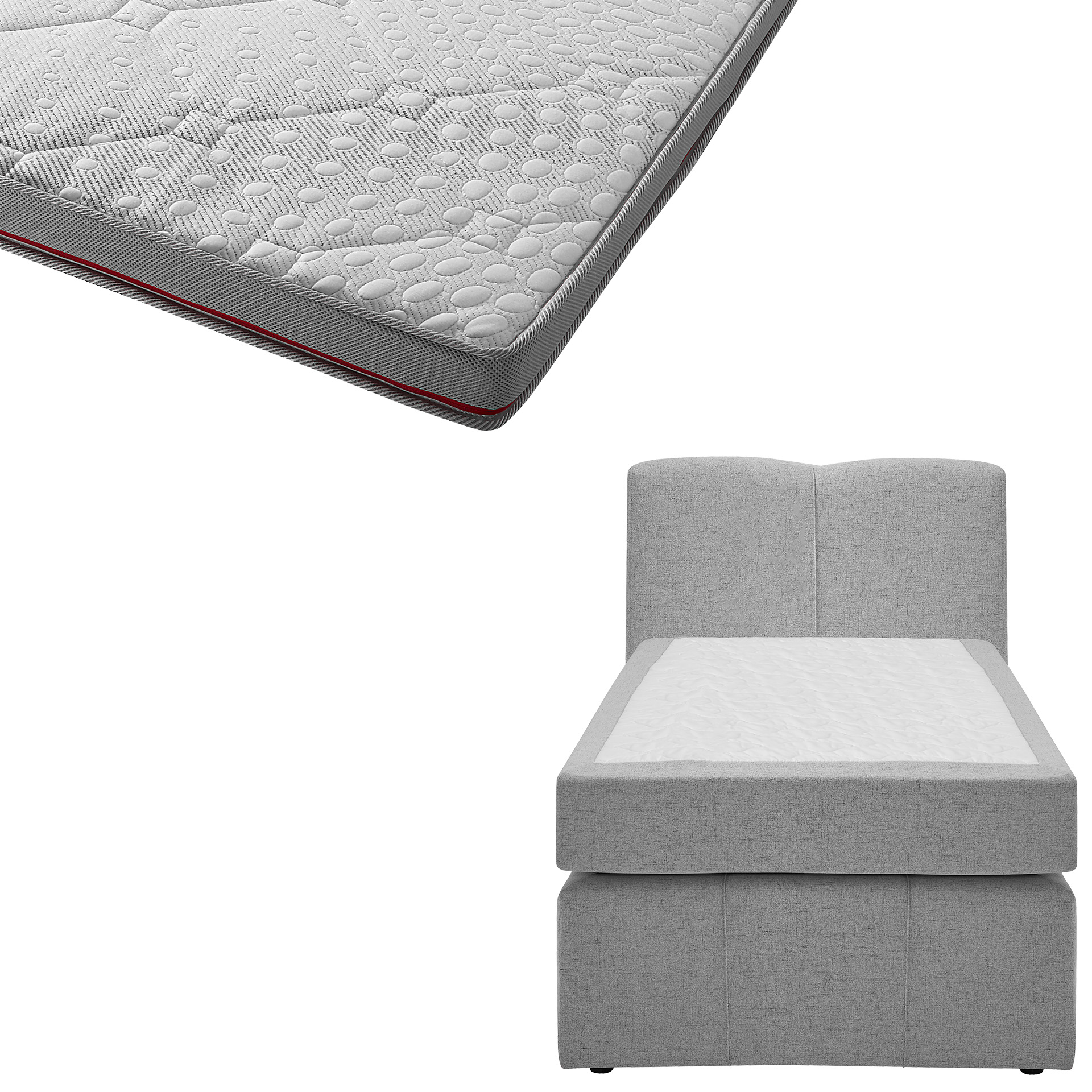 Boxspringbett-Set SUPERDREAM Kolding/SUPERDREAM Premium-Visko-Topper (90x200)
