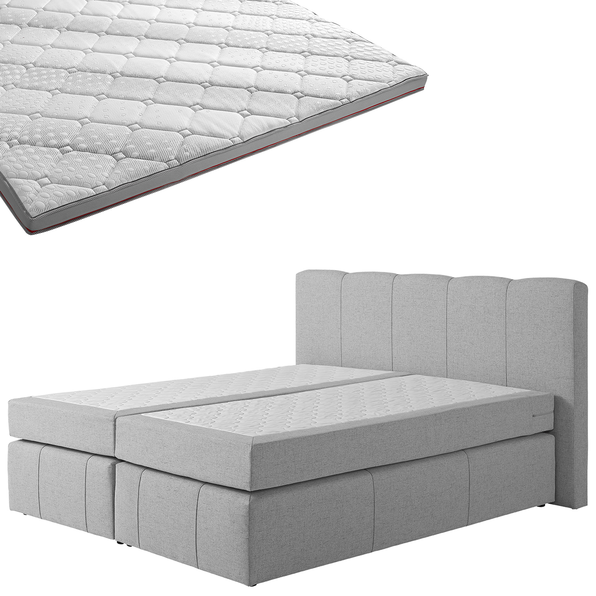 Boxspringbett-Set SUPERDREAM Kolding/SUPERDREAM Premium-Visko-Topper (180x200)