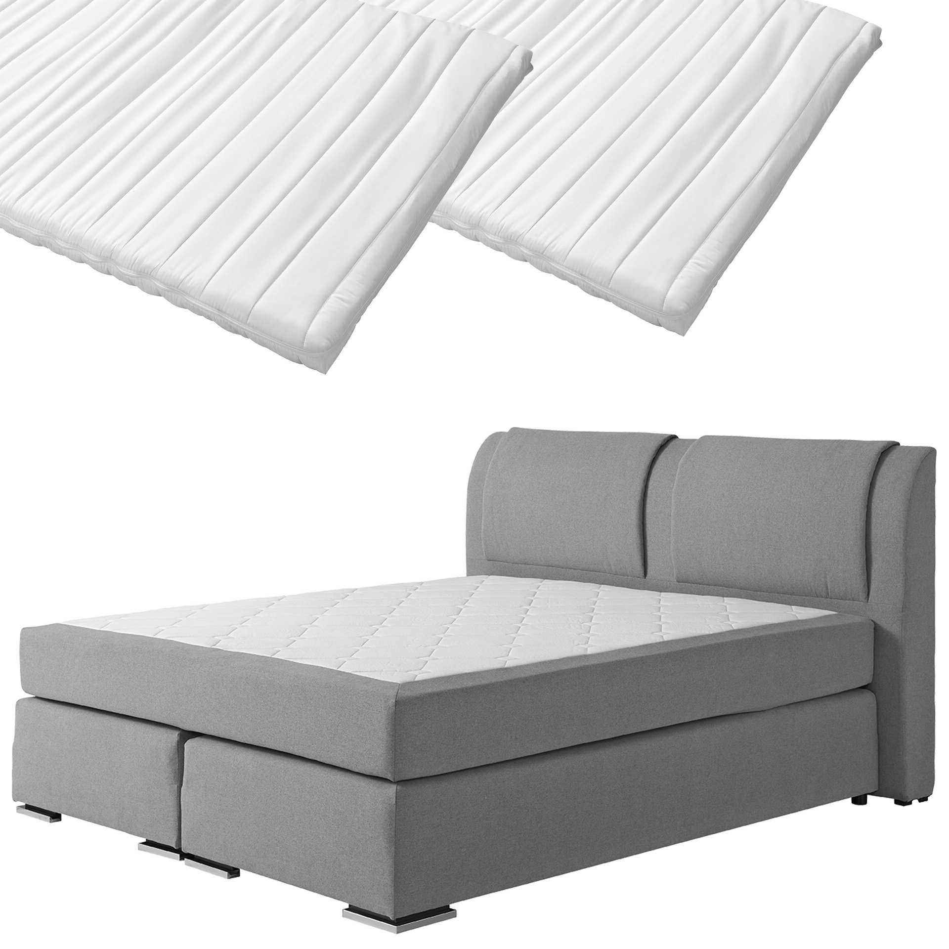 Boxspringbett-Set SUPERDREAM Himmerland/ErgoMAXX® Komfortschaum-Topper Stockholm (180x200, 2 Topper)