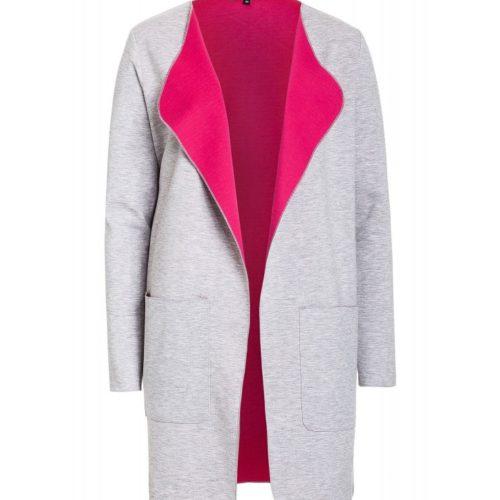 Sweatmantel, grau/pink