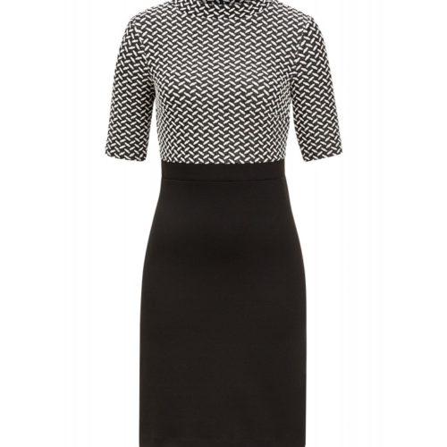 Jerseykleid, schwarz/ecru