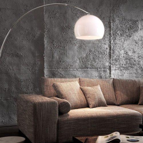 DELIFE Bogenleuchte Big-Deal Eco Lounge Weiss Marmor verstellbar, Stehleuchten