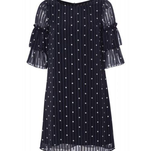 Kleid, marine/weiß getupft