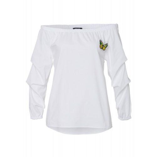 Bluse mit Schmetterling-Brosche, weiß