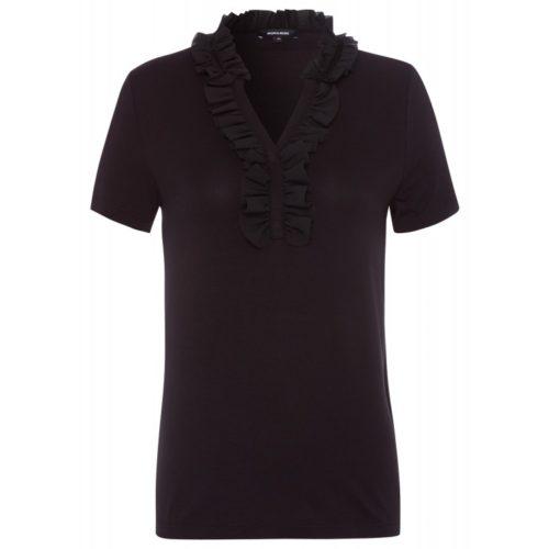 Shirt mit Rüsche, schwarz